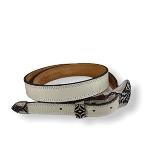Nocona White Leather Belt with Buckle